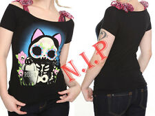 Too Fast Kitty Cat T Shirt Top Hot Topic Cyber Punk Goth Rockabilly Skeleton Tee