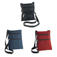 Ladies Cross Body Hip Bag Shoulder Strap Purse Zipped Denim Blue Red Black