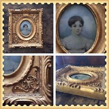 """Antique Gold Wood Miniature Portrait Oval Frame for Miniature Portrait 8"""" x 6.75"""