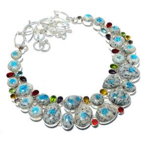 "K2 Blue - Azurite In Quartz & Multi 925 Sterling Silver Necklace 17.99"" T2743"