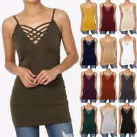 TheMogan S~3X Womens Basic Strappy Criss Cross V-Neck Tank Top Caged Cutout Cami