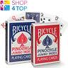 Bicycle Pinochle Playing Cartes Pont Fabriqué En USA Red Bleu Géant Indice Uspcc