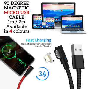 MAGNETIC 90-Degree MICRO USB Charging/Data Sync Transfer Cable For SAMSUNG A10