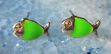 Ohrstecker Ohrring Fisch Fische grün emailliert vergoldet