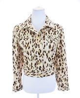 Chicos Cropped Leopard Print Gold Studded Denim Style Jacket Women Sz 2 ~ L ~ 12