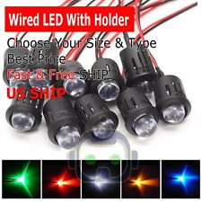 3mm 5mm 8mm 10mm Pre Wired LED + Holder DC9-12V Diffused Lights Emitting Diodes