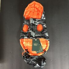 Bass Grey Orange Camo Dog Coat NWT X-Small Puff Style NEW Retail($50) Stuff Bag