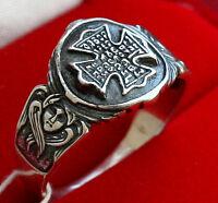 Russian Greek Prayer Men Ring.Orthodox Jewelry. Sterling Silver.St. George Cross