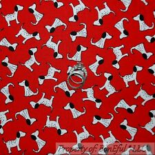 BonEful Fabric FQ Cotton Quilt Red B&W Black White Puppy Dog Fire*Man Dalmatian