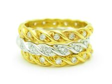 18KT GOLD STERLING SILVER DIAMOND SET WHITE SAPPHIRE ETERNITY STACKABLE RINGS