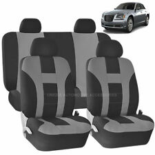 GRAY & BLACK DOUBLE STITCH SEAT COVERS 8PC SET for CHRYSLER ASPEN 300