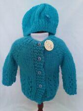 "Dolls Hand Knitted Cardigan & Hat ~ fits 18"" dolls Our Generation AG Designer Fr"