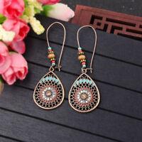 Vintage Retro Women Crystal Carved Hook Drop Dangle Ethnic Gypsy  Earrings