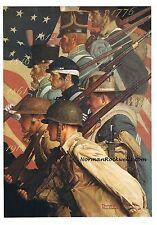 "Norman Rockwell print ""TO MAKE MEN FREE"" patriotic military veterans poster rare"