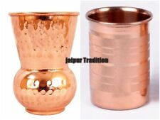 2 Pcs 100% Pure Copper Indian Handmade Glass/Cup Drinking Waters