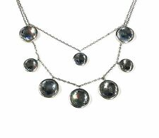 LUXENTER 925 Sterling Silver Crystal and Hematite Necklace RRP £211.00