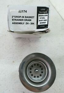 """Moen 22174 Chrome 2"""" Drop In Basket Strainer With Drain Assembly ZH-204"""