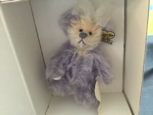 Annette Funicello PURPLE PASSION 5 inch Mohair Bear with Purple Heart on Paw NIB