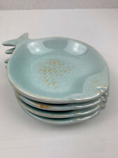 4 Blue Sky Clayworks 2007 Aqua Ceramic Fish Shaped Dishes Sushi Trinket Soap