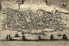 "Old World Bird's Eye View MAP - LISBON Portugal circa 1672 Vintage Repro 24""x36"""
