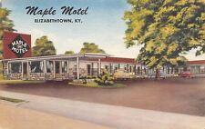 Elizabethtown Kentucky~Maple Roadside Motel~Free Radio~1940s Linen Postcard