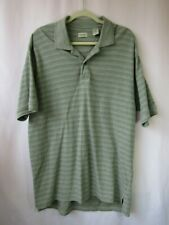 EUC Mens IZOD L Gray Striped Print Polo Short Sleeve Golf Collar Shirt
