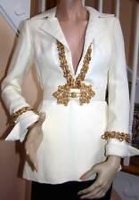 Vintage 1970's OSCAR DE LA RENTA Ecru Embellished Tunic Pants Set 2-4