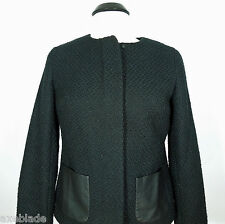 TALBOTS Women's Wool Blend Jacket with Fake Leather Pockets size 4
