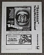 SSSSSSS SNAKE/THE BOY WHO CRIED WEREWOLF original 1973 pressbook KERWIN MATHEWS