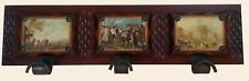 Perchero de madera maciza con ilustraciones de cuadros estilo vintage