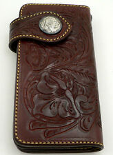 WESTERN COWBOY INDIAN GENUINE LEATHER WALLET BIG LONG BIKER NEW RED BURGUNDY MEN