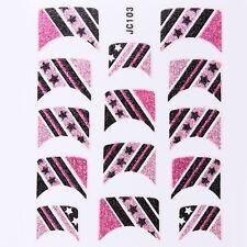 Nail Art Decal Stickers Glitter Nail Tips Pink & Black Stripes w/ Stars JC103