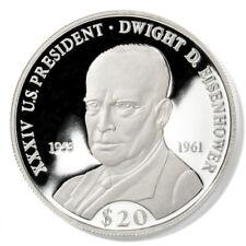 Liberia Dwight D. Eisenhower $20 2000 Proof Silver Coin Km-899