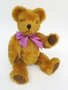 "VINTAGE 1960s - 1970s GOLDEN CINNAMON BROWN PLUSH TEDDY BEAR 16"""