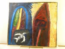 1969 VINTAGE NY ABSTRACT EXPRESSIONIST IMPASTO OIL PAINTING Mid Century SIGNED