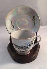 Vintage Lusterware Dragon Ware Demi Tasse Tea Cup Lithopane Geisha Image Japan