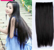 Black Color long clip on off fake Hair Extension 24 inch 120gm Hair Accessories