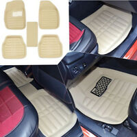 5Pcs/set universal beige car auto floor mats floor liner leather carpet   X