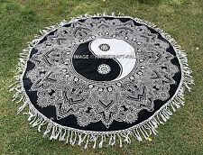 Indian Black & White Yin Yang Mandala Round Tapestry Hippie Beach Throw Blanket
