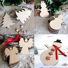 10Pcs/Set Christmas Wood Chip Tree Ornaments Hanging Pendant Decoration Gifts