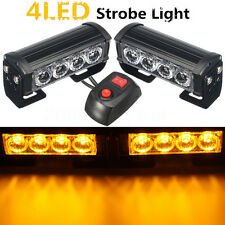 Amber 4 LED Grille Bar Car Truck Strobe Flash Emergency Warning Light 12V 2Pcs