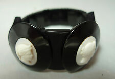Victorian Whitby Jet & Angel Coral Elasticated Cameo Bracelet 16g 3.1cm A596717