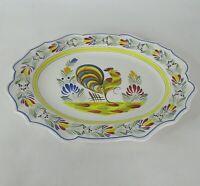 Signed Henriot Quimper France Hand Painted Rooster Plate Serving Platter