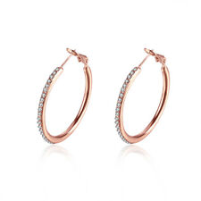 Rose Gold Tone CZ Inside Out Channel-Set 15mm Round Hoop Earrings