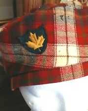 Vintage Biltmore Wool Red Tartan Plaid Maple Leaf Tam  Military Type  SZ SMALL