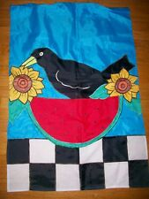 Embroidered Garden Flag Yard Decor Crow Sunflower Watermelon Fall Autumn