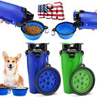 2-in-1 Portable Pet Food & Water Bottle/Collapsible Bowl For Dog Travel Camping