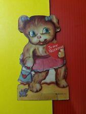 Vintage 1930-40's Valentine Card - Little Girl Kitten with Purse and Bird