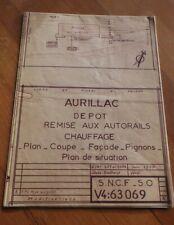 RARE SNCF - AURILLAC - PLAN DEPOT REMISE AUX AUTORAILS - JUIN 1970