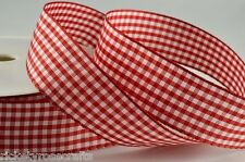 Gingham Ribbon 25 METRE Reel  5mm 10mm 25mm Widths Whole Roll
